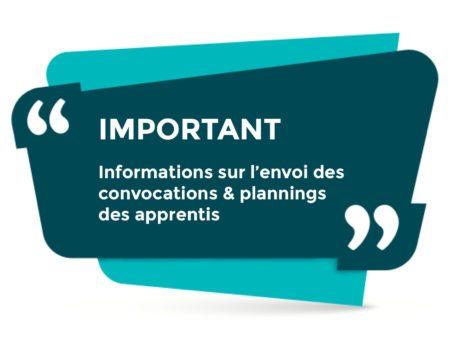 Information sur l'envoi des convocations et planning